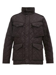 Burberry Check Lined Quilted Field Jacket Black