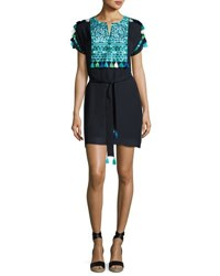 Figue Short Sleeve Embroidered Dress Navy Turquoise