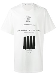 Julius Lettering Print Boxy T Shirt Men Cotton Ii White