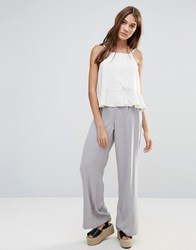 Neon Rose Wide Leg Trousers Grey
