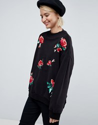 Pimkie Rose Embroidered Sweatshirt Black