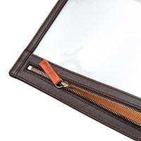 Stow Leather See View Transparent Travel Pouch Organiser Smoky Quartz Brown And Pale Orange