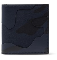 Valentino Camouflage Print Leather And Canvas Wallet Blue