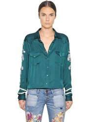 One Teaspoon San Cerena Embroidered Satin Shirt