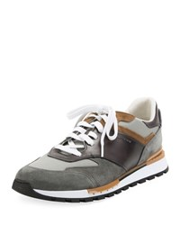 Berluti Suede And Leather Running Sneakers Gray