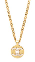 Wgaca What Goes Around Comes Around Chanel Turn Lock Necklace Previously Owned Gold Silver