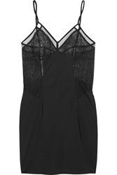 Calvin Klein Underwear Primal Crocheted Lace And Satin Crepe Chemise Black