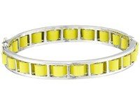 French Connection Woven Leather Bangle Bracelet Silver Yellow Bracelet Gray