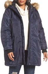 Steve Madden Plus Size Women's Hooded Parka With Faux Fur Trim Navy