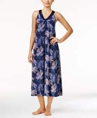 Alfani Satin Trimmed V Neck Printed Knit Nightgown Only At Macy's Navy Dotted Florals