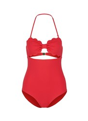 Marysia 'Antibes' Cutout Bow Bandeau One Piece Swimsuit Red
