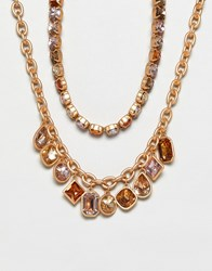 Stradivarius Diamante And Chain Necklaces Gold