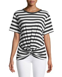 7 For All Mankind Crewneck Short Sleeve Knotted Front Striped Tee Black White