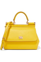 Dolce And Gabbana Sicily Small Textured Leather Shoulder Bag Yellow