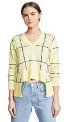 Cedric Charlier V Neck Sweater Yellow Plaid