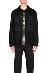 Givenchy Jesus Denim Jacket In Black Abstract