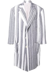 Thom Browne Oversized Blanket Linen Sack Overcoat Grey