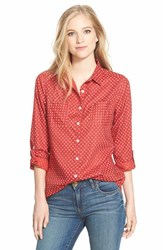 Petite Women's Caslon Long Sleeve Cotton Shirt Red Beauty Print