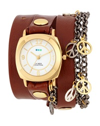 La Mer Leather Wrap Peace Charm Watch Brown