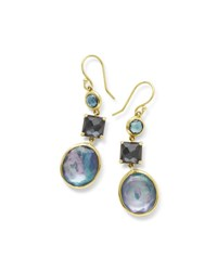 Ippolita 18K Rock Candy 3 Stone Drop Earrings In Midnight Rain Dark Blue