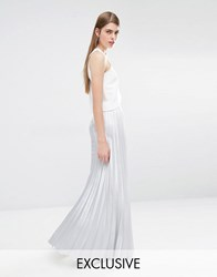True Violet Pleated Maxi Skirt Silver Grey