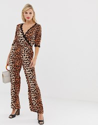 Liquorish Wrap Front Jumpsuit In Leopard Print With Lace Trim Sleeve Detail Multi