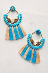 Anthropologie Pom And Tassel Drop Earrings Turquoise
