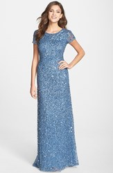 Women's Adrianna Papell Short Sleeve Sequin Mesh Gown Nile