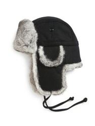 Saks Fifth Avenue Rabbit Fur Trapper Hat Black