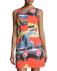 Milly Tropical Print Seamed Sleeveless Dress Multi
