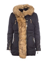 Relish Hooded Parka With Faux Fur Trims Navy