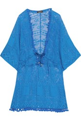 Roberto Cavalli Pompom Embellished Open Knit Coverup Blue