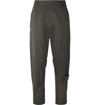 Isabel Benenato Slim Fit Tapered Cotton Blend Trousers Green