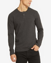 Kenneth Cole Reaction Textured Henley Charcoal Heather