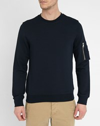 Sandro Navy Enemy Round Neck Sweatshirt