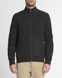 Hackett Anthracite Grey Contrast Elbow Patch Zip Up Logo Cardigan