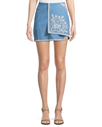 Moon River Embroidered Chambray Wrap Skirt Blue