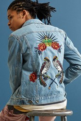 Bdg Embroidered Denim Trucker Jacket Light Blue