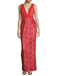 Monique Lhuillier Plunging Embroidered Gown Coral