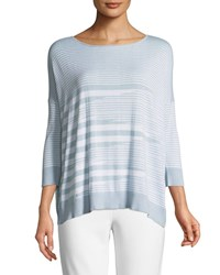 Joan Vass Mixed Striped Cotton Modal Sweater Sky Blue White