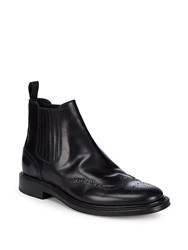Brioni Leather Goodyear Brogue Ankle Boots Black