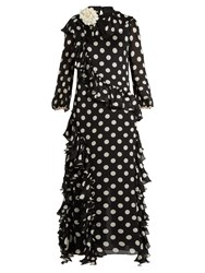 Gucci Ruffled Polka Dot Georgette Gown Black Multi