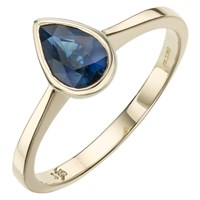 A B Davis 9Ct Yellow Gold Pearshaped Rubover Semi Precious Ring Sapphire