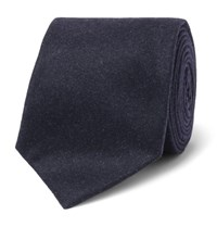 Brunello Cucinelli 8Cm Melange Wool Silk And Cashmere Blend Tie Midnight Blue