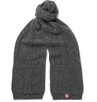 Thom Browne Cable Knit Wool And Mohair Blend Scarf Gray