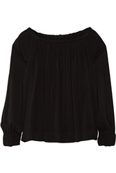 Donna Karan Off The Shoulder Stretch Silk Chiffon Top