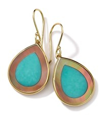 18K Gold Polished Rock Candy Mini Teardrop Earrings In Turquoise Brown Shell Ippolita