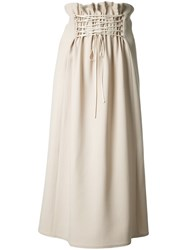 The Row Flared Midi Skirt Nude Neutrals