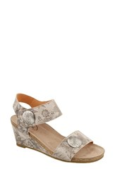 Taos 'S 'Carousel 2' Wedge Sandal Stone Floral Leather