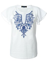 Twin Set Jeans Sequin Embroidery T Shirt White